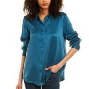 Eileen Fisher 100% Silk Button Down Blouse XS